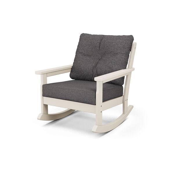 Vineyard Sand and Ash Charcoal Deep Seating Rocking Chair, image 1
