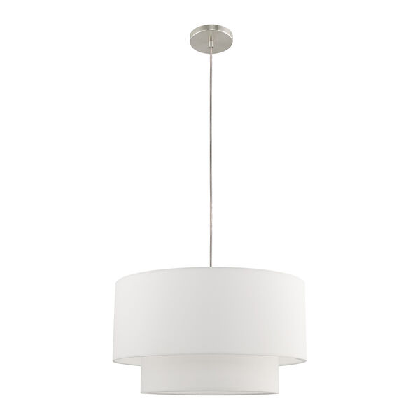 Clark Brushed Nickel 20-Inch One-Light Pendant Chandelier with Hand Crafted Off-White Hardback Shade, image 2
