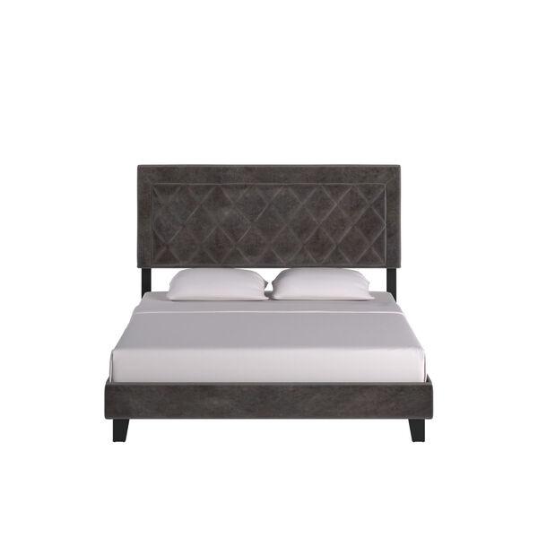 Lydia Gray and Black Queen Velvet Platform Bed, image 2