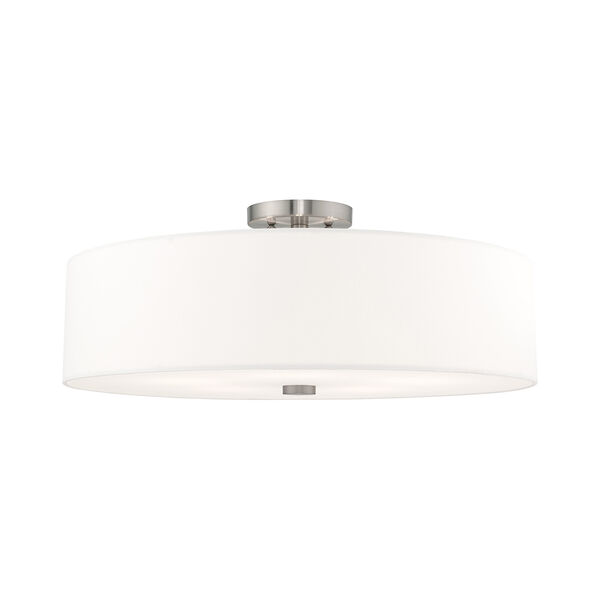 Meridian Brushed Nickel 22-Inch Five-Light Ceiling Mount with Hand Crafted Off-White Hardback Shade, image 1