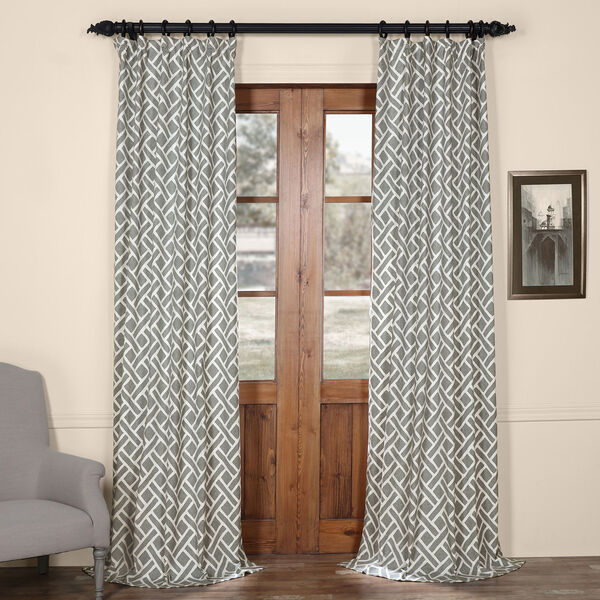Martinique Grey 84 in. x 50 in. Printed Cotton Curtain Panel, image 1