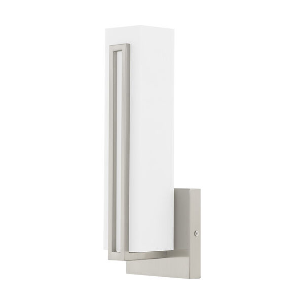 Fulton Brushed Nickel 4-Inch ADA Wall Sconce with Satin White Acrylic Shade, image 2