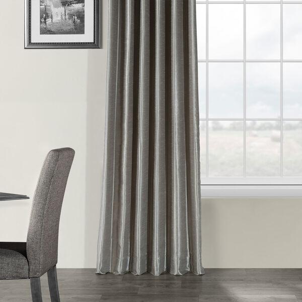 Silver Vintage Textured Faux Dupioni Silk Single Panel Curtain, 50 X 84, image 5