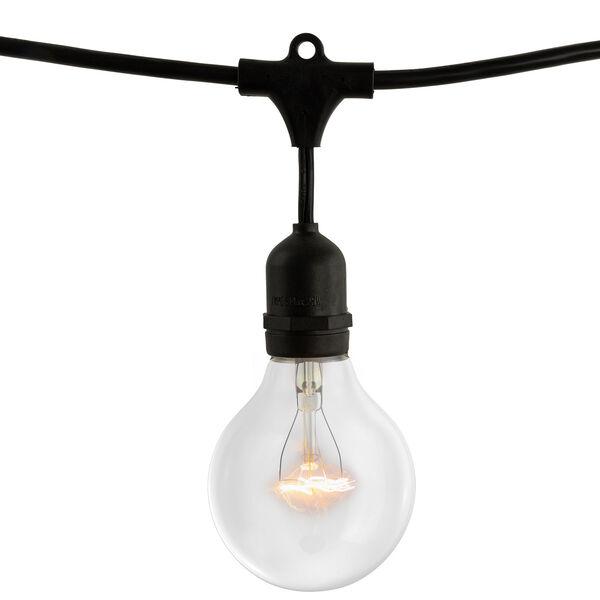 Black 15-Light 48-Foot Outdoor String Light Kit with Globe Bulbs, image 1