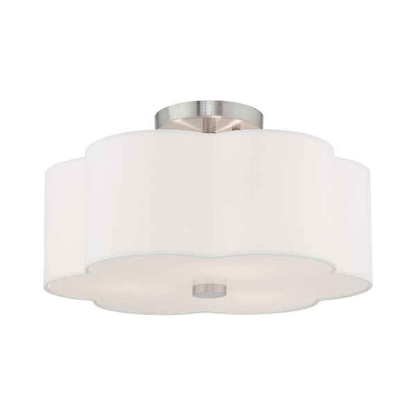 Chelsea Brushed Nickel 15-Inch Three-Light Ceiling Mount with Hand Crafted Off-White Hardback Shade, image 3