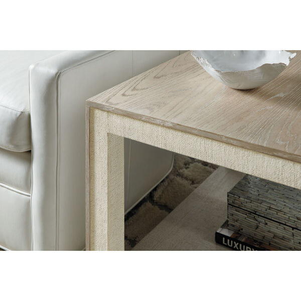 Cascade Taupe Laquered Burlap End Table, image 3