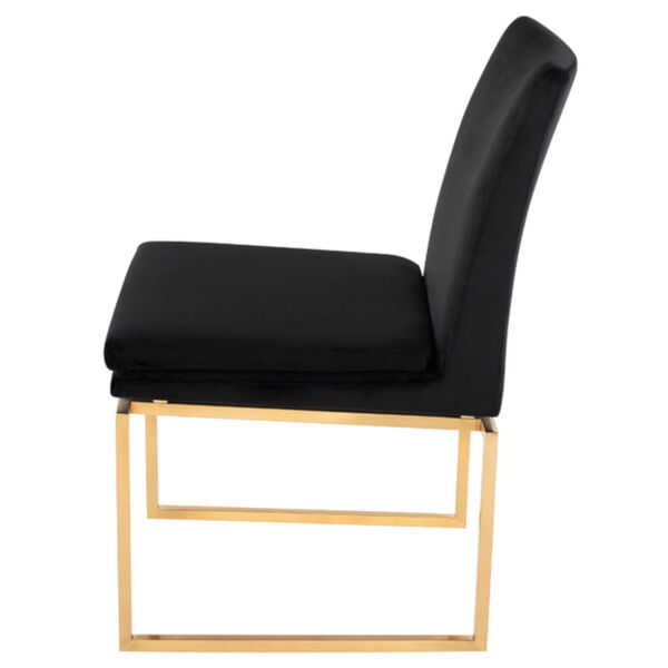 Savine Black and Brushed Gold Dining Chair, image 3