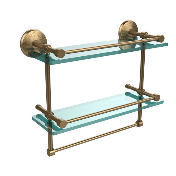 Monte Carlo Collection 16-Inch Gallery Double Glass Shelf with Towel Bar, image 1