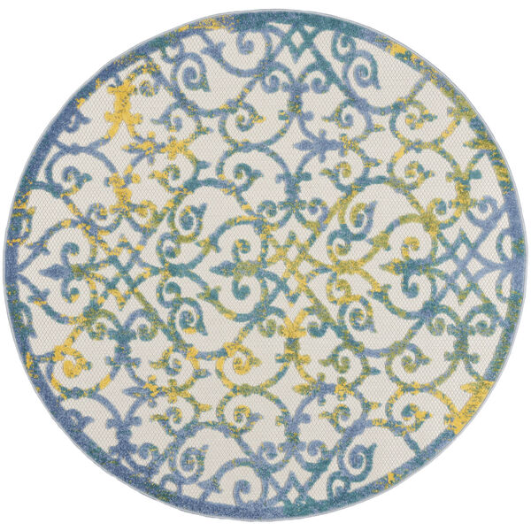 Aloha Ivory and Blue 5 Ft. 3 In. x 5 Ft. 3 In. Round Indoor/Outdoor Area Rug, image 2