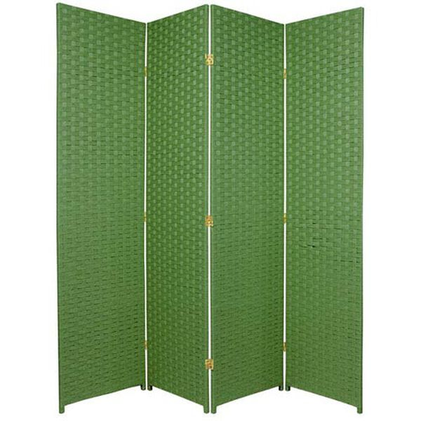 Six Ft. Tall Woven Fiber Room Divider Four Panel Light Green, Width - 68 Inches, image 1