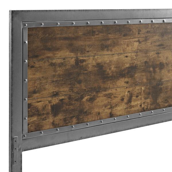 Queen Size Industrial Wood and Metal Panel Headboard - Brown, image 4