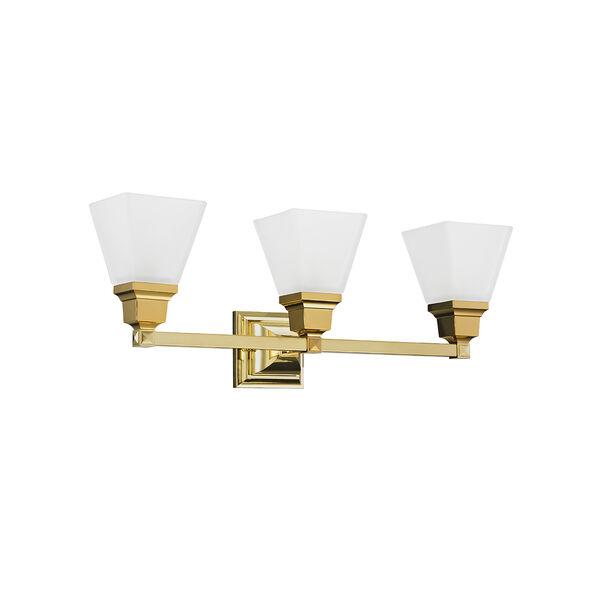 Mission Polished Brass 25.5-Inch Three-Light Bath Light, image 5