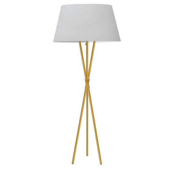 Gabriela Aged Brass and White One-Light Tripod Floor Lamp, image 1