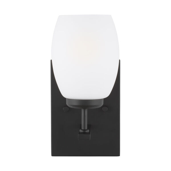 Catlin Midnight Black One-Light Bath Vanity with Etched White Inside Shade Energy Star, image 1