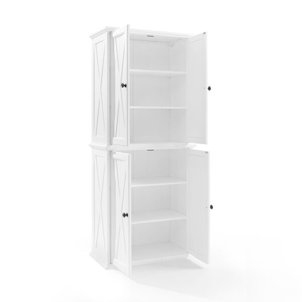 Clifton Distressed White Tall Kitchen Pantry, image 5