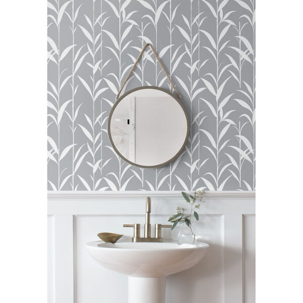 NextWall Gray Bamboo Leaves Peel and Stick Wallpaper, image 4