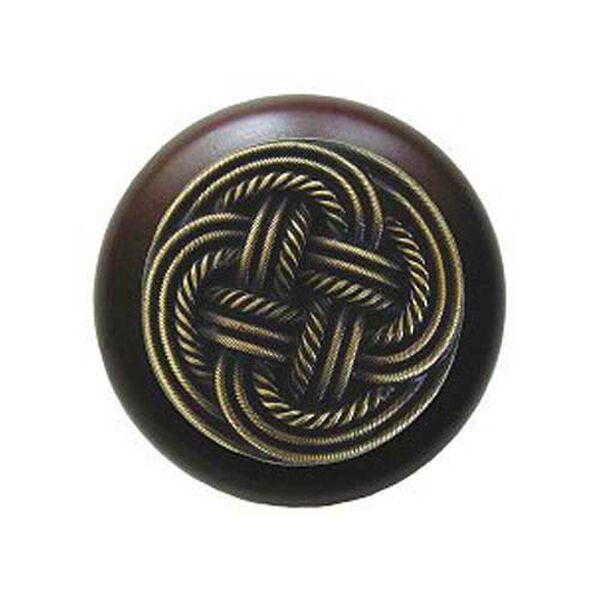 Dark Walnut Classic Weave Knob with Antique Brass, image 1