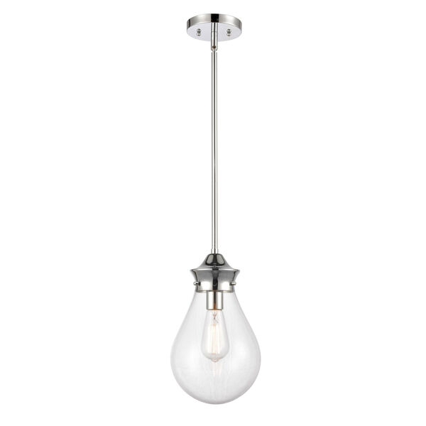 Genesis Polished Chrome Eight-Inch One-Light Mini Pendant with Clear Glass Shade, image 1
