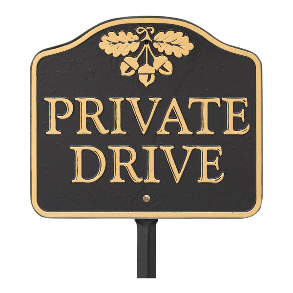 Black Gold Private Drive Sign  Cast Aluminum Wall or Lawn Mounting, image 2