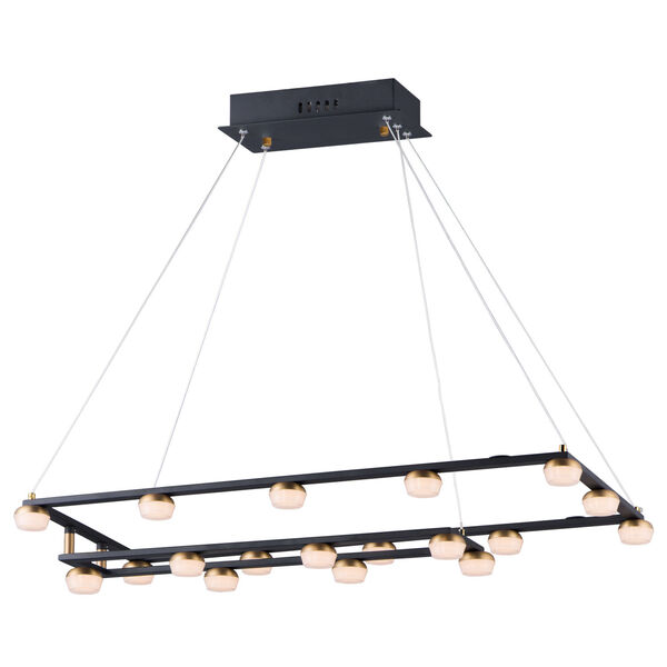 Button Black and Gold 19-Light LED Suspension Pendant With Clear Acrylic Glass, image 1