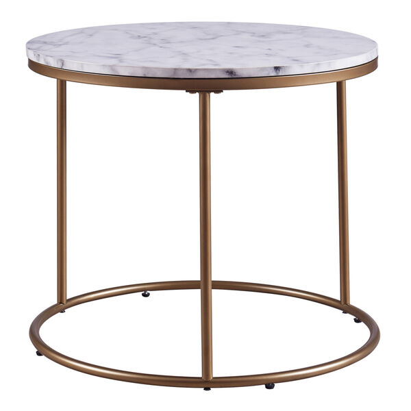 Marmo Faux Marble and Brass Round Side Table with Faux Marble, image 5