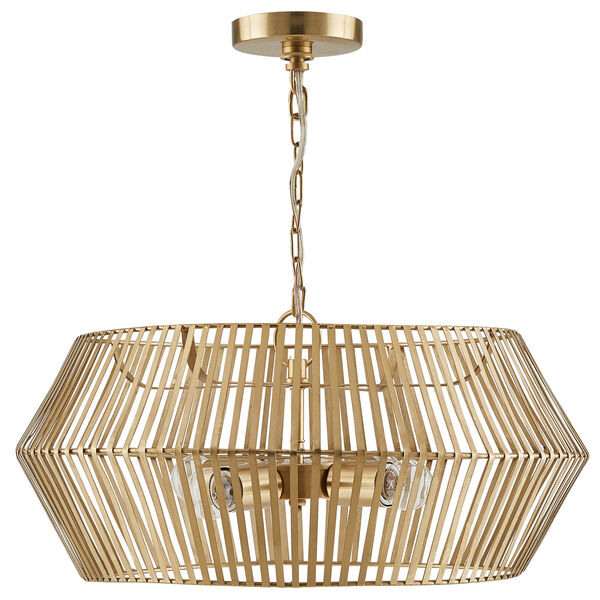 Matte Gold Four-Light Artisan Pendant, image 1