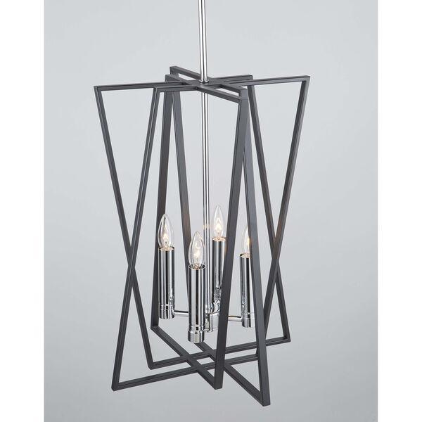 Middleton Matte Black and Polished Chrome Four-Light Geometric Chandelier, image 5