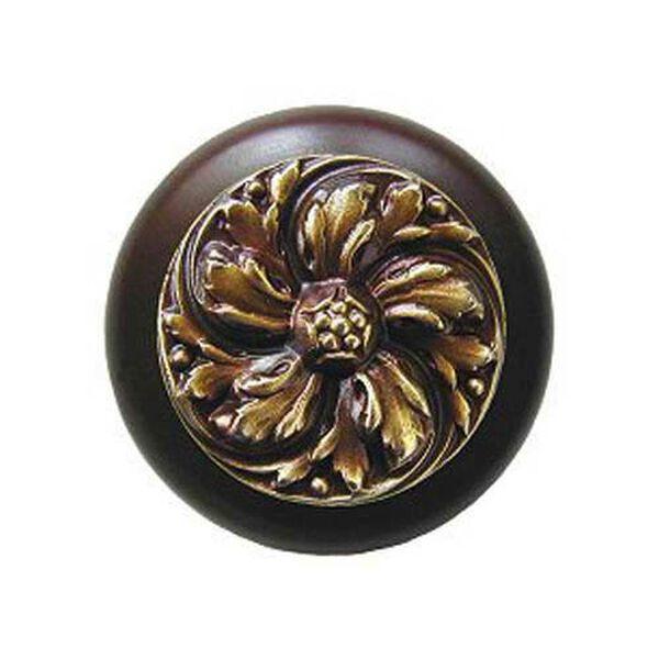 Dark Walnut Chrysanthemum Knob with Antique Brass, image 1