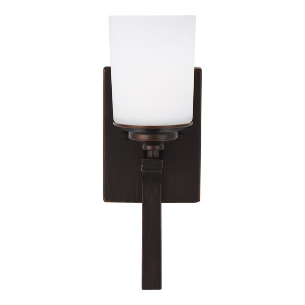 Kemal Bronze One-Light Bath Vanity with Etched White Inside Shade, image 1