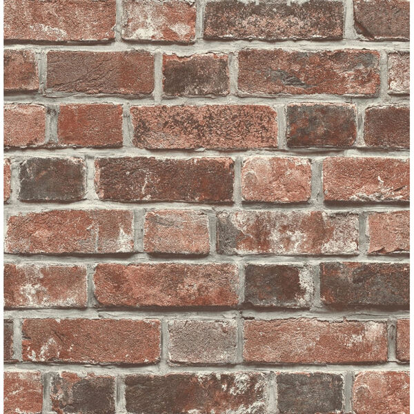 NextWall Distressed Red Brick Peel and Stick Wallpaper, image 2