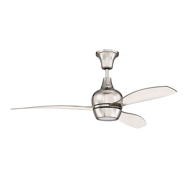 Bordeaux Polished Nickel Led 52-Inch Ceiling Fan With Clear Acrylic Blade, image 2