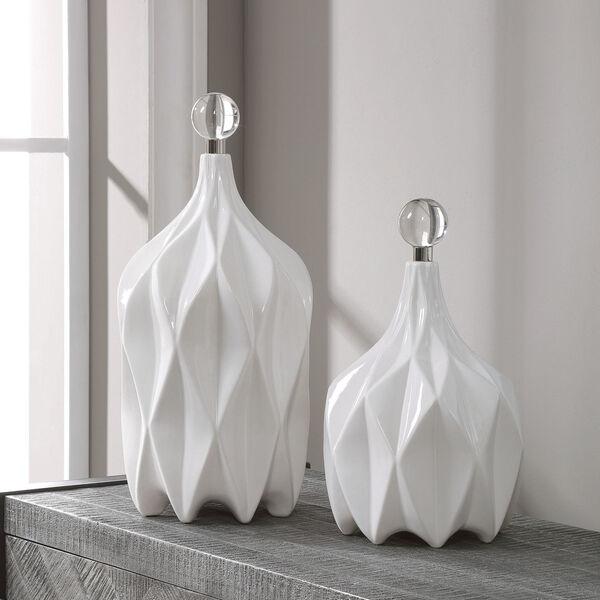 Klara Glossy White Bottles, Set of 2, image 1