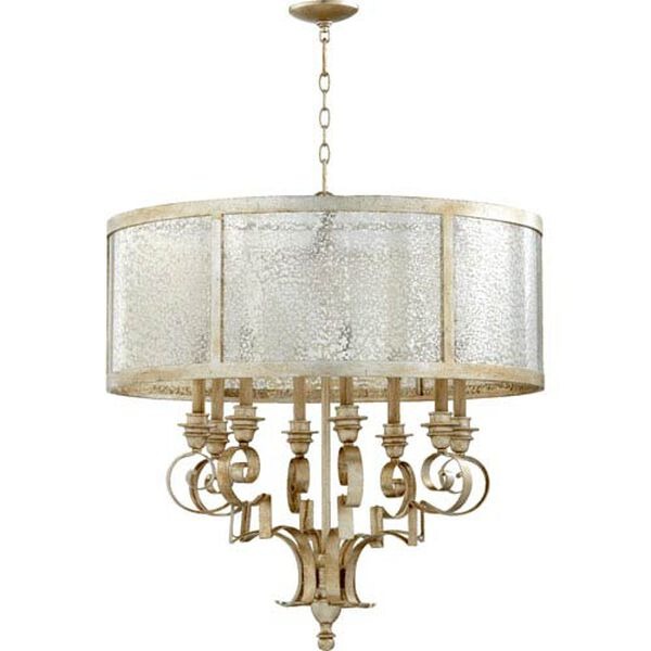 Bloomfield Aged Silver Leaf 31-Inch Eight-Light Pendant, image 1