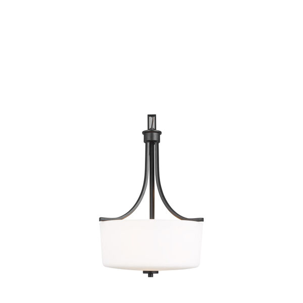 Kemal Midnight Black Three-Light Pendant with Etched White Inside Shade, image 1