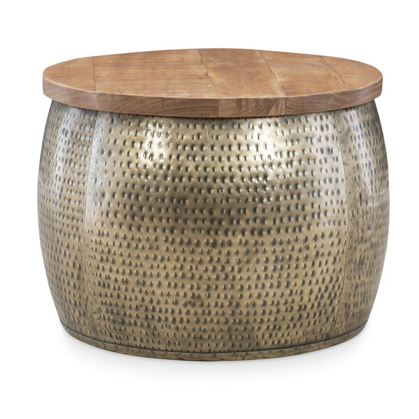 Leah Gold Drum with Storage Table, image 1