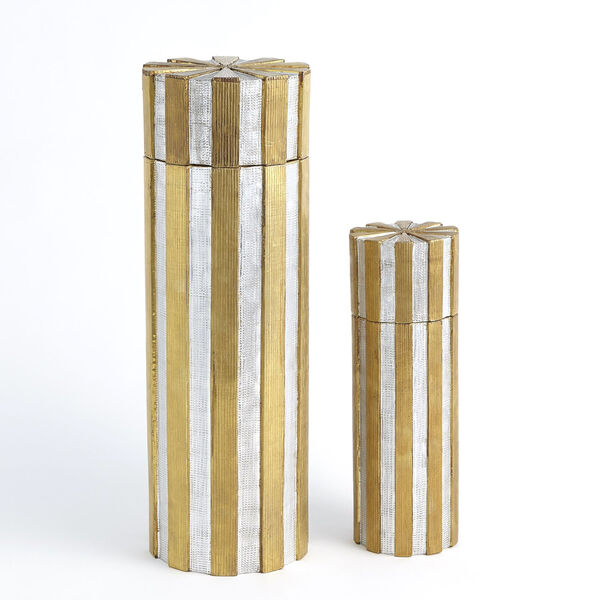 Nickel and Brass 6-Inch Metal Vertical Stripe Box, image 5