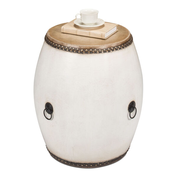 White Drum End Table, image 2