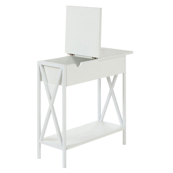 Tucson Flip Top End Table with Charging Station and Shelf, image 5