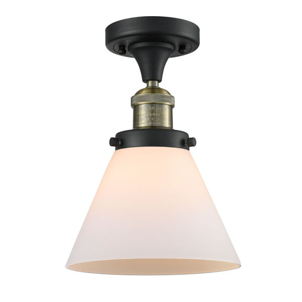 Franklin Restoration Black Antique Brass Eight-Inch One-Light Semi-Flush Mount with Matte White Cased Large Cone Shade, image 1