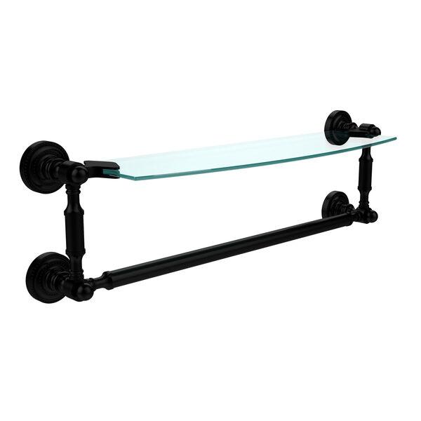 Dottingham Matte Black 18 Inchx5 Inch Glass Shelf w/Towel Bar, image 1