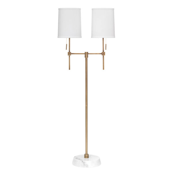 Minerva Antique Brass and White Marble Two-Light Floor Lamp, image 1