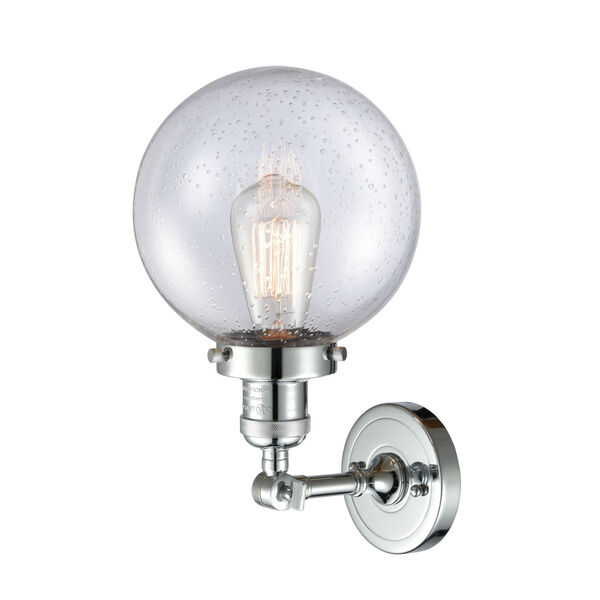 Franklin Restoration Polished Chrome Eight-Inch LED Wall Sconce with Seedy Glass Shade, image 2