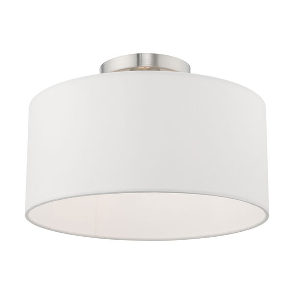 Clark Brushed Nickel 13-Inch One-Light Ceiling Mount with Hand Crafted Off-White Hardback Shade, image 3