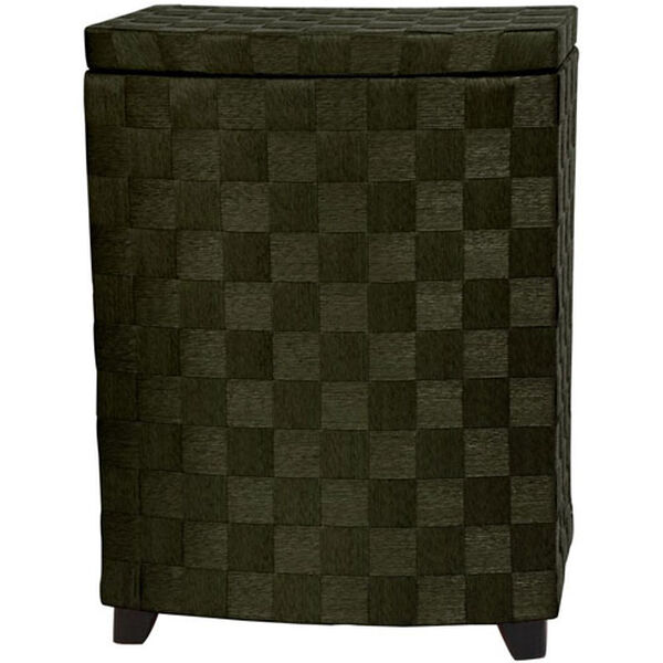27 Inch Natural Fiber Laundry Hamper Black, Width - 15 Inches, image 1