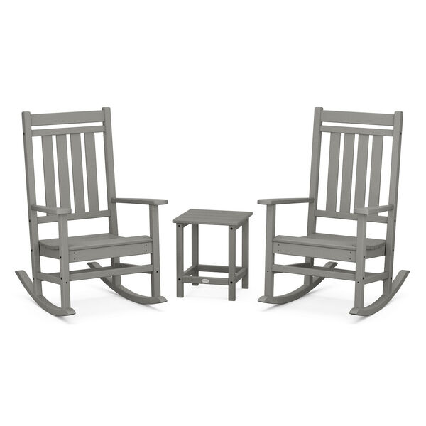 Estate Slate Grey Outdoor Rocking Chair Set with Side Table, 3-Piece, image 1