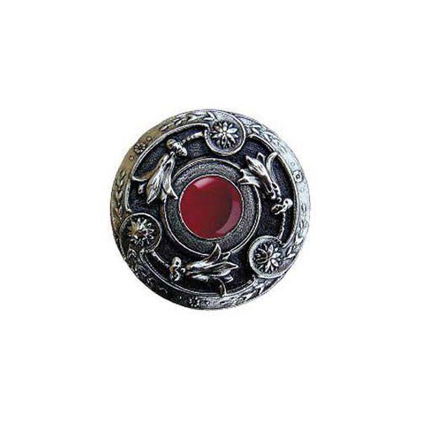 Brite Nickel Red Carnelian Jeweled Lily Knob , image 1