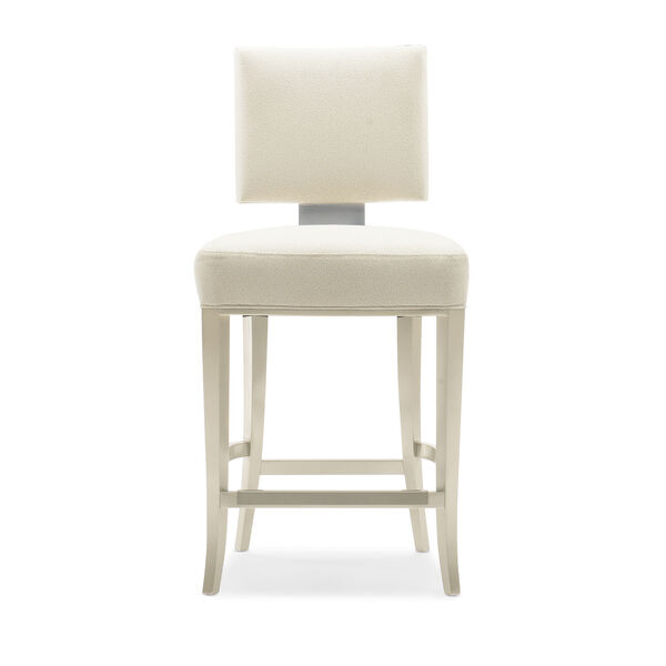 Caracole Classic Lightly Brushed Chrome and Beige Reserved Seating Counter Stool, image 5