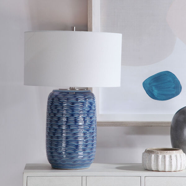 Sedna Blue and Brushed Nickel One-Light Table Lamp with Round Hardback Drum Shade, image 3