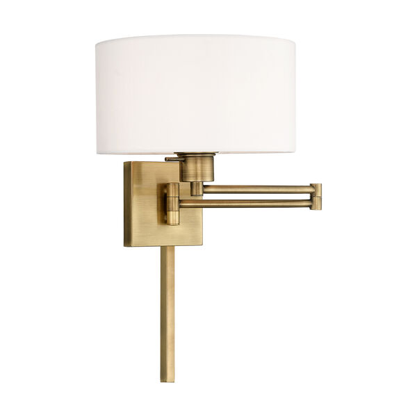Swing Arm Wall Lamps Antique Brass 11-Inch One-Light Swing Arm Wall Lamp with Hand Crafted Off-White Hardback Shade, image 1