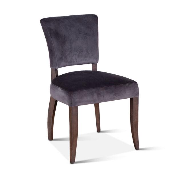 Portia Asphalt Gray and Weathered Teak Velvet Side Chair, Set of 2, image 2